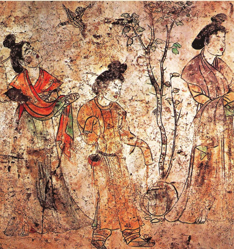 Tang dynasty mural with women